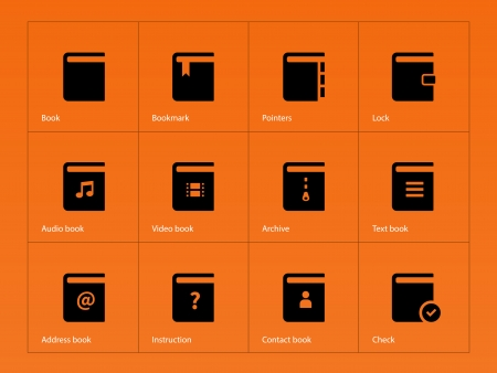 picture book: Book icons on orange background. Vector illustration.