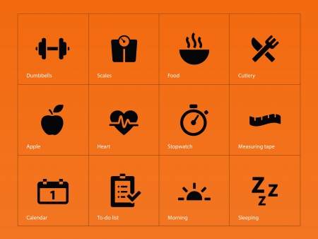 todo: Fitness icons on orange background. Vector illustration.