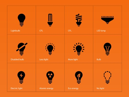 Light bulb and CFL lamp icons on orange background. Vector illustration. Vector