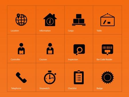 Logistics icons on orange background. Vector illustration.
