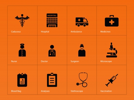 Hospital icons on orange background. Vector illustration. Vector