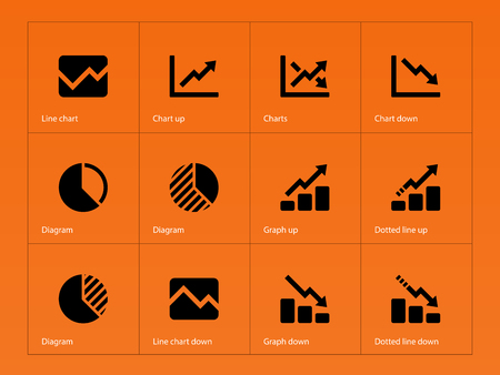 Line chart and diagram icons on orange background vector line chart and diagram icons on orange background vector illustration stock vector 24560100 ccuart Image collections