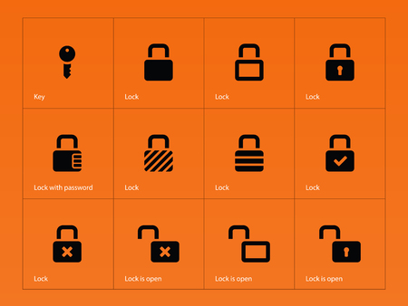 combination lock: Locks icons on orange background. Vector illustration. Illustration