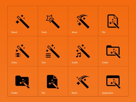 wand: Magician icons isolated on orange background. Vector illustration.