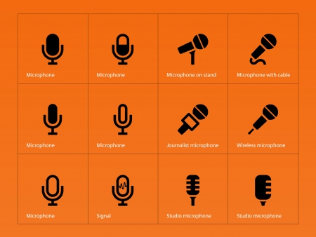 Microphone icons on orange background. Vector illustration. Vector