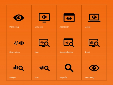 Observation and Monitoring icons on orange background. Vector illustration.