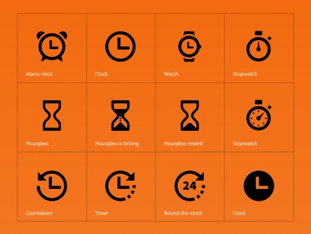 hourglass: Time and Clock icons on orange illustration.
