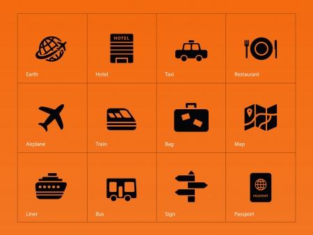 bag of soil: Travel icons on orange illustration. Illustration