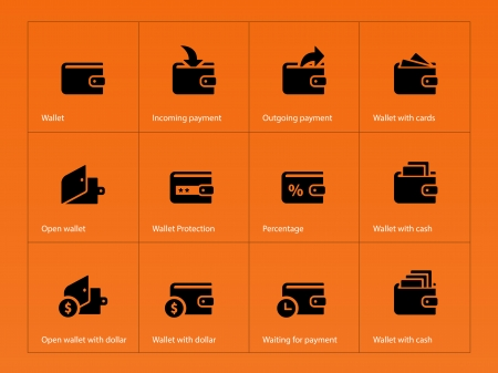 Wallet and translation icons on orange illustration.