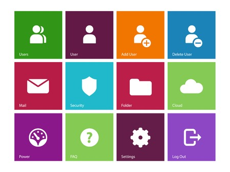 log out: User Account icons on color . Vector illustration. Illustration