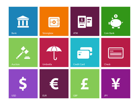 Banking icons on color . Vector illustration. Vector