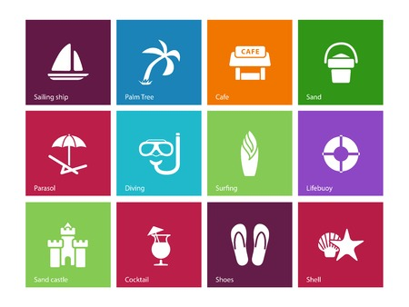 Beach icons on color . Vector illustration. Illustration