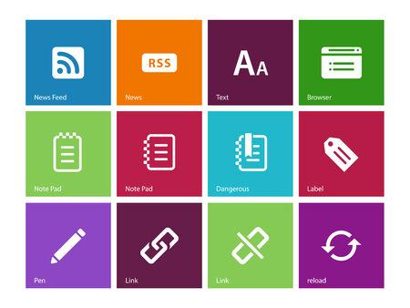 broken link: Blogger icons on color . Vector illustration. Illustration