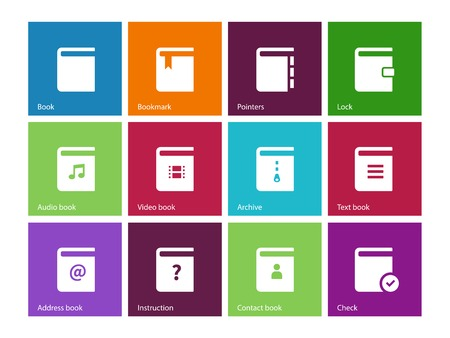 videobook: Book icons on color . Vector illustration.