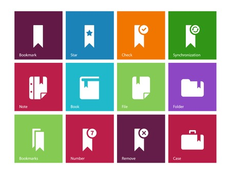 Bookmark, tag, favorite icons on color . Vector illustration. Stock Vector - 24925338