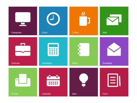 Business color icons created in Adobe Illustrator CS6. Vector