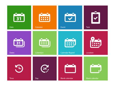 kalendarz: Kalendarz ikony na kolor. ilustracji wektorowych.