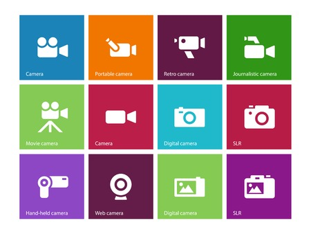 journalistic: Camera icons on color background. Vector illustration.