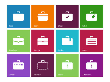 Case icons. Traveling bags and luggage. Vector illustration. Vector