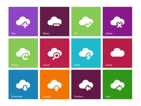 icons web: Cloud icons on color background. Vector illustration.