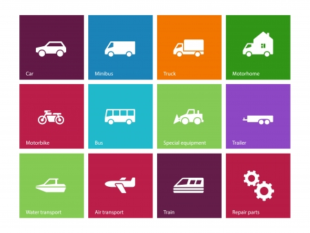 Cars and Transport icons on color background. Vector illustration. Vector
