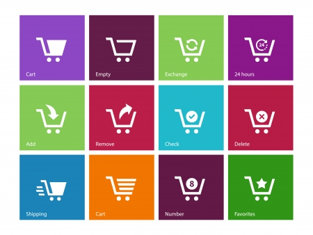 cart: Shopping cart icons on color background. Vector illustration.
