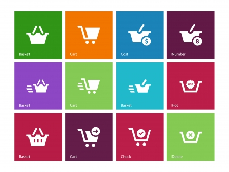 Checkout icons on color background. Vector illustration. Vector