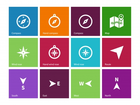 Compass icons on color background. Vector illustration. Illustration