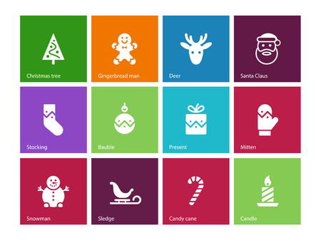 Christmas icons on color background. Vector illustration. Vector