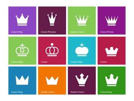 nobleman: Crown icone su sfondo di colore. Illustrazione vettoriale.