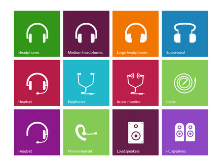 headphones: Headphones and speakers icons on color background. Vector illustration.