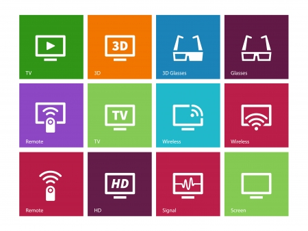 flatscreen: TV icons on color background. Vector illustration.