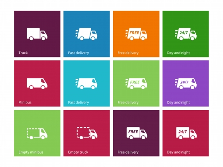 delivery service: Delivery Service icons on color background. Vector illustration. Illustration