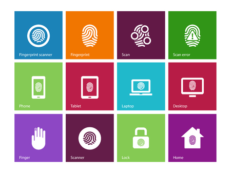Fingerprint icons on color background. Vector illustration. Vector