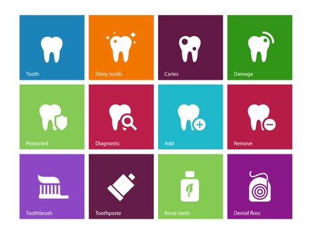 dental floss: Tooth, teeth icons on color background. Vector illustration. Illustration