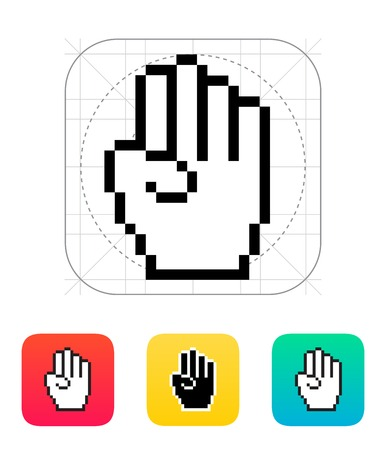 Four fingers. Pixel hand cursor icon illustration. Vector