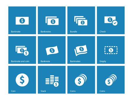 cash money: Dollar Banknote blue icons on white background. Vector illustration. Illustration