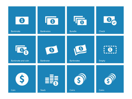 cash money: Iconos azules billete de dólar en el fondo blanco. Ilustración del vector.