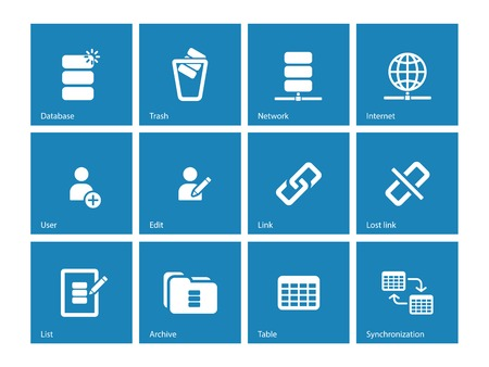 Database icons on blue background. Vector illustration. Vector