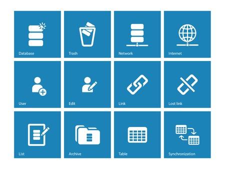 protected database: Database icons on blue background. Vector illustration.