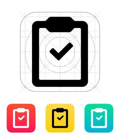 Controleer klembord pictogram. Vector illustratie.