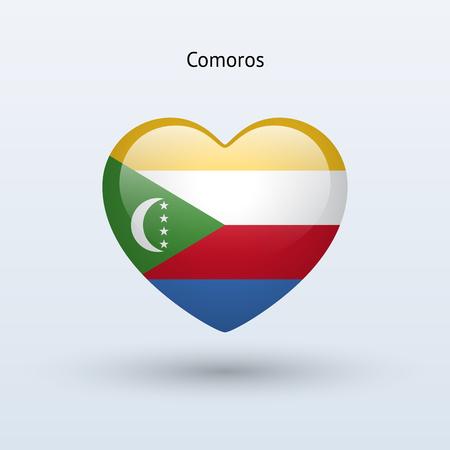 comoros: Love Comoros symbol. Heart flag icon. Vector illustration. Illustration