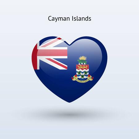 cayman: Love Cayman Islands symbol. Heart flag icon. Vector illustration.