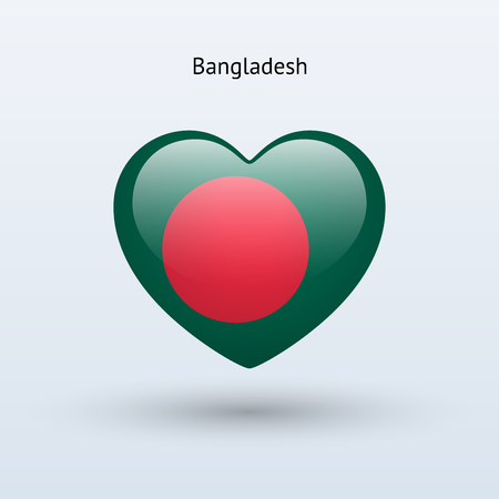 Love Bangladesh symbol. Heart flag icon. Vector illustration. Vector
