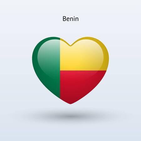 Love Benin symbol. Heart flag icon. Vector illustration. Illustration