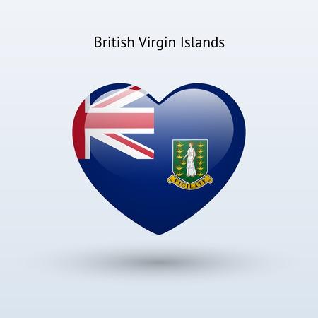 virgin islands: Love British Virgin Islands symbol. Heart flag icon. Vector illustration. Illustration