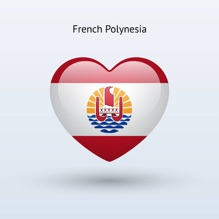Love French Polynesia symbol. Heart flag icon. Vector illustration. Vector