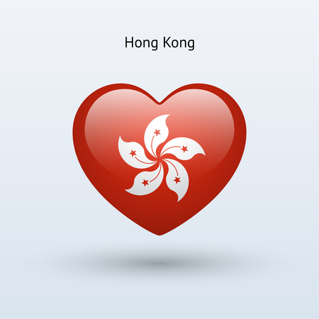 Love Hong Kong symbol. Heart flag icon. Vector illustration. Vector