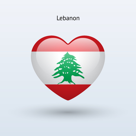 Love Lebanon symbol. Heart flag icon. Vector illustration. Vector