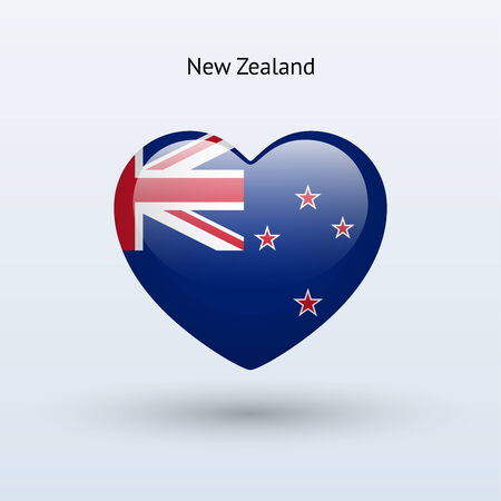 Love New Zealand symbol. Heart flag icon. Vector illustration. Vector